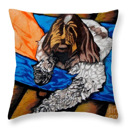 Dog Throw Pillow featuring the drawing Giorgio by Jon Kittleson