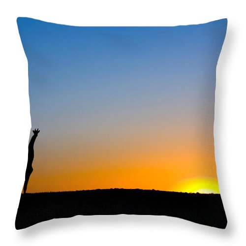 00425257 Throw Pillow featuring the photograph Giraffe Against The Setting Sun by Vincent Grafhorst