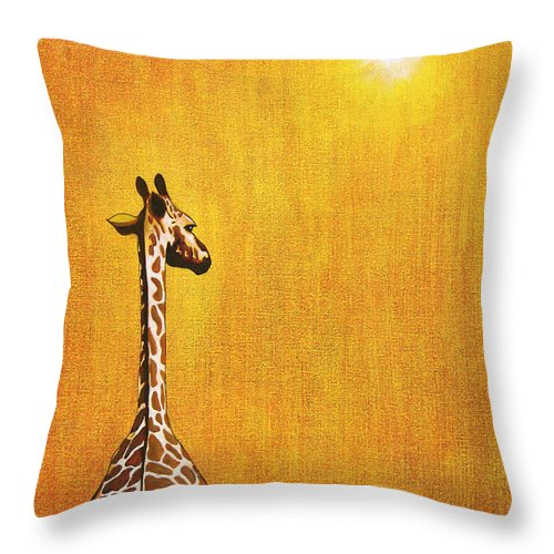 Giraffe Throw Pillow featuring the painting Giraffe Looking Back by Jerome Stumphauzer