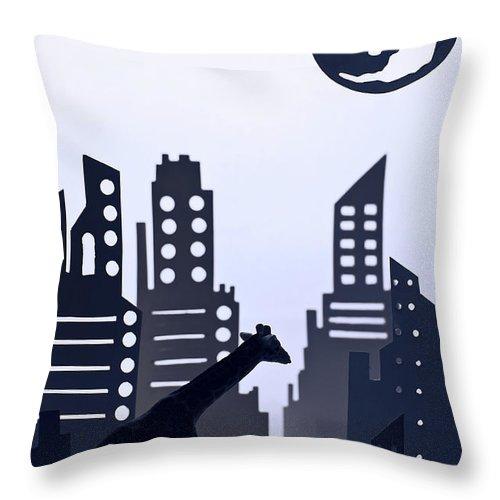 White Background Throw Pillow featuring the digital art Giraffe Walking Around The City by Dina Belenko Photography