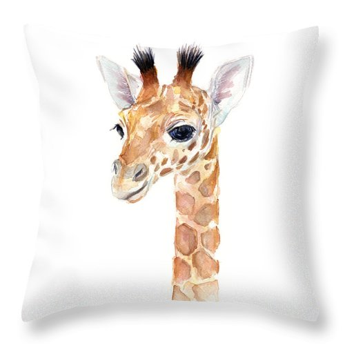 Watercolor Throw Pillow featuring the painting Giraffe Watercolor by Olga Shvartsur