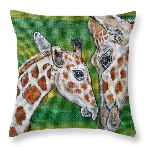 Giraffe Throw Pillow featuring the painting Giraffes Artwork - Learning and Loving by Ella Kaye Dickey