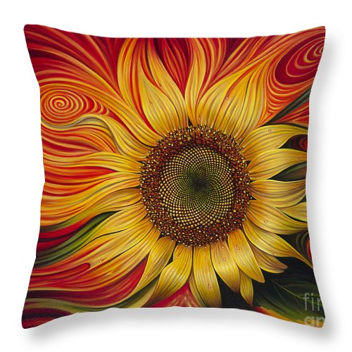 Sunflower Throw Pillow featuring the painting Girasol Dinamico by Ricardo Chavez-Mendez