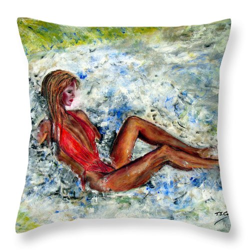 Girl Throw Pillow featuring the painting Girl In A Red Swimsuit by Tom Conway