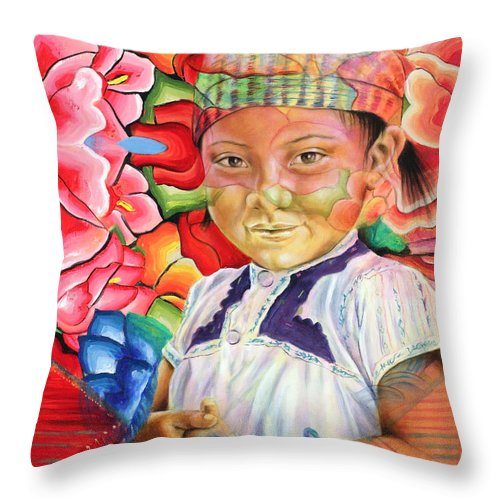 Oaxaca Throw Pillow featuring the painting Girl In Flowers by Karina Llergo