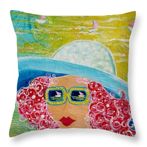 Beach Day Throw Pillow featuring the painting Girl In Sun Hat by Deborah Burow