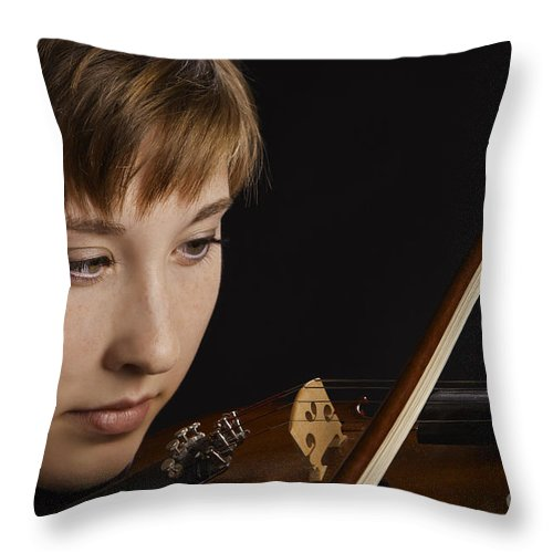 Violin Throw Pillow featuring the photograph Girl Musician And Violin Or Viola Photograph Color 3361.02 by M K Miller