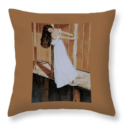 Girl On Dock Throw Pillow featuring the painting Girl on Dock by Judy Swerlick