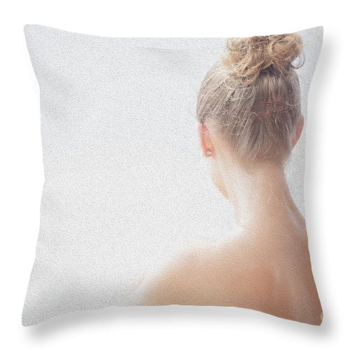 Long Necked Girl Throw Pillow featuring the photograph Girl by Sheila Smart Fine Art Photography