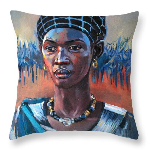 Girl South Sudan Throw Pillow featuring the painting Girl South Sudan by Mohamed Fadul