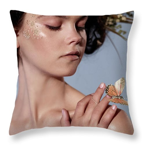 Tranquility Throw Pillow featuring the photograph Girl With Butterfly In Hand by Bill Diodato