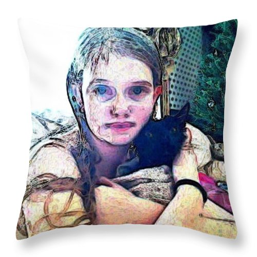 Beautiful Girl And Cat Painting Throw Pillow featuring the photograph Girl With Her Black Cat by PainterArtist FIN