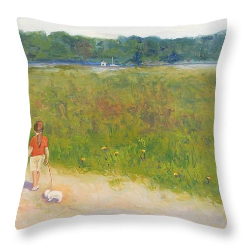 Girl Throw Pillow featuring the painting Girl Walking Dog by Angela Inguaggiato