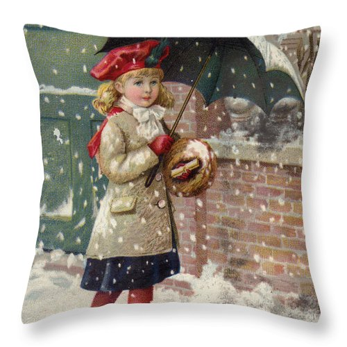 Advertising Throw Pillow featuring the painting Girl With Umbrella In A Snow Shower by American School