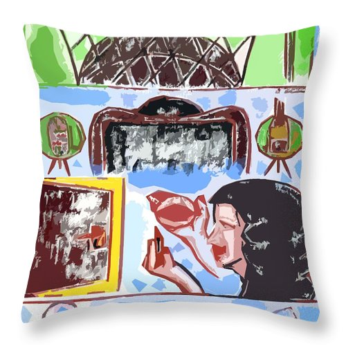 Birthday Throw Pillow featuring the painting Girls Night Out by Patrick J Murphy
