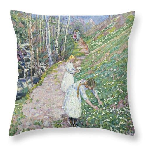 Lars Jorde Throw Pillow featuring the painting Girls Picking Wood Anemone by Lars Jorde