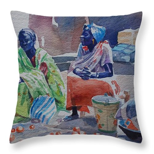 Girls Sellers Throw Pillow featuring the painting Girls Sellers by Mohamed Fadul