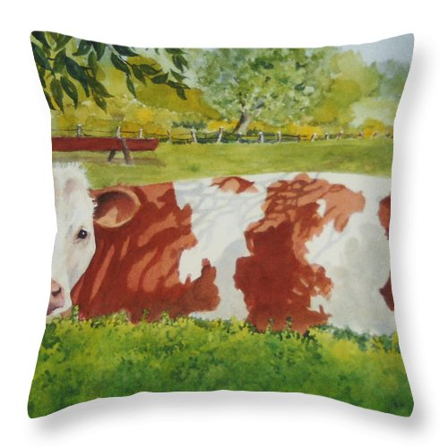 Cows Throw Pillow featuring the painting Give Me Moooore Shade by Mary Ellen Mueller Legault