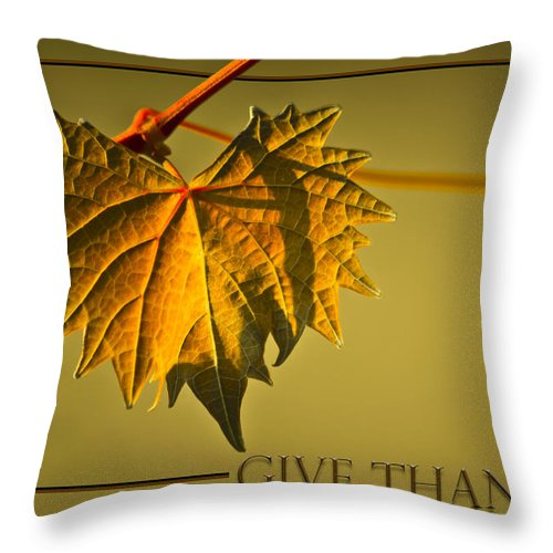 Leaves Throw Pillow featuring the photograph Give Thanks by Carolyn Marshall