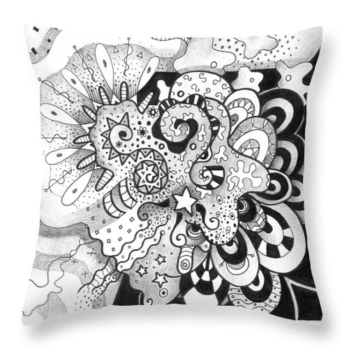 Abstract Throw Pillow featuring the drawing Give Us A Hug by Helena Tiainen