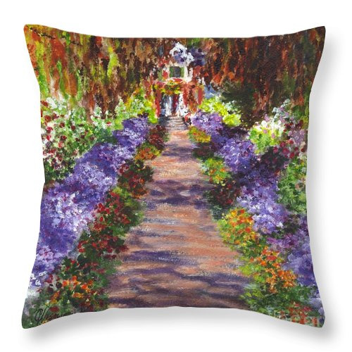 Floral Throw Pillow featuring the painting Giverny Gardens Pathway After Monet by Carol Wisniewski
