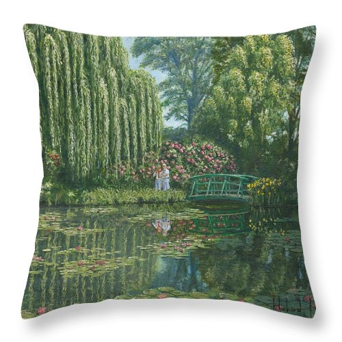 Landscape Throw Pillow featuring the painting Giverny Reflections by Richard Harpum