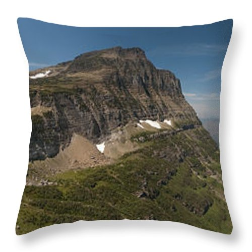 Glacier National Park Throw Pillow featuring the photograph Glacier National Park Panorama by Sebastian Musial