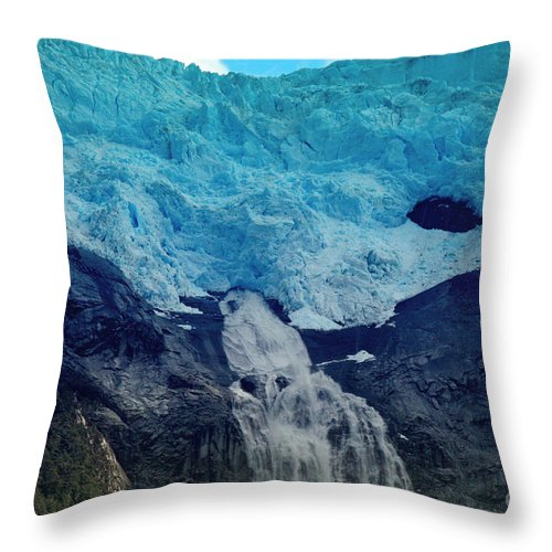 Glacier Waterfall Throw Pillow featuring the photograph Glacier Waterfall by Tap On Photo