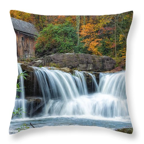 Babcock State Park Throw Pillow featuring the photograph Glade Creek Grist Mill And Waterfalls by Lori Coleman