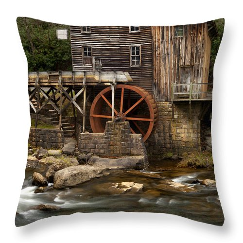 Glade Creek Grist Mill Throw Pillow featuring the photograph Glade Creek Grist Mill by Anthony Totah
