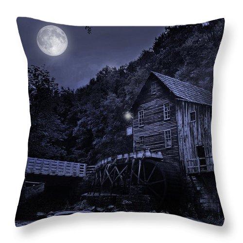 Glade Creek Grist Mill Throw Pillow featuring the photograph Glade Creek Grist Mill At Night by Lj Lambert