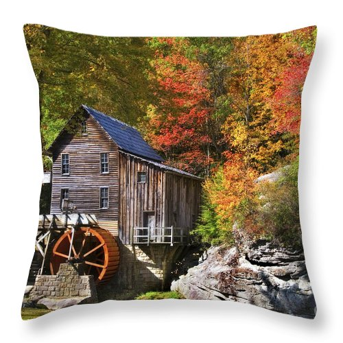 Mill Throw Pillow featuring the photograph Glade Creek Mill by T Lowry Wilson