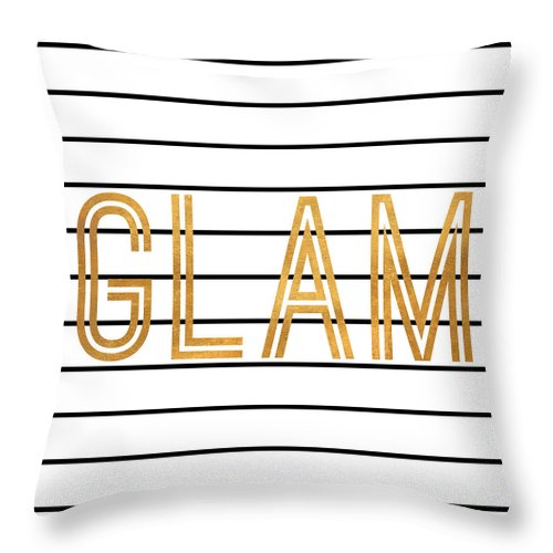 Glam Throw Pillow featuring the digital art Glam Pinstripe Gold by South Social Studio