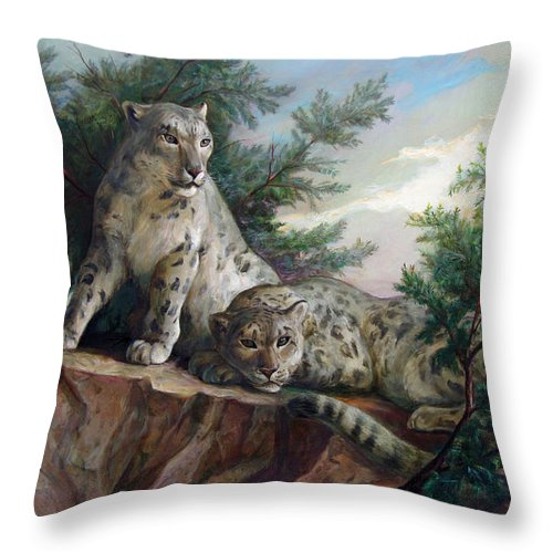 Cats Throw Pillow featuring the painting Glamorous Friendship- Snow Leopards by Svitozar Nenyuk
