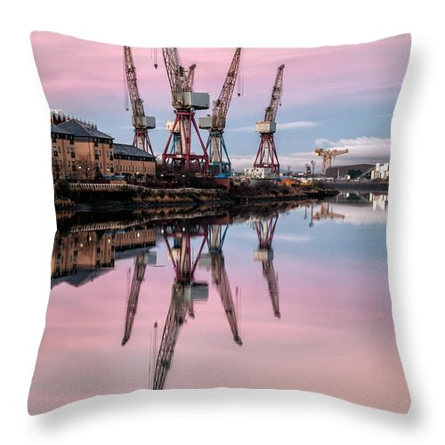 Glasgow Throw Pillow featuring the photograph Glasgow Cranes With Belt Of Venus by John Farnan