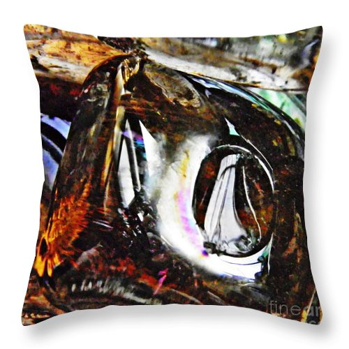 Abstract Throw Pillow featuring the photograph Glass Abstract 125 by Sarah Loft