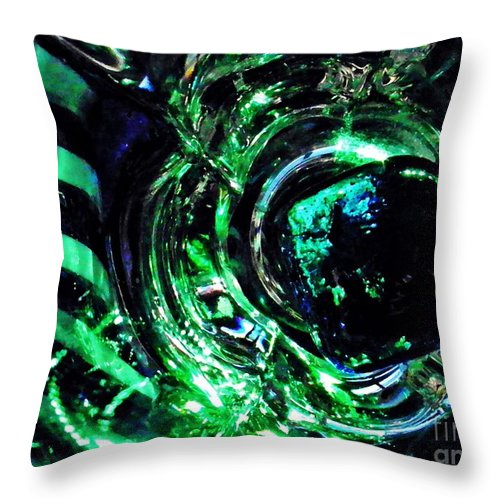 Abstract Throw Pillow featuring the photograph Glass Abstract 143 by Sarah Loft