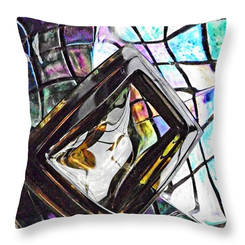 Abstract Throw Pillow featuring the photograph Glass Abstract 309 by Sarah Loft