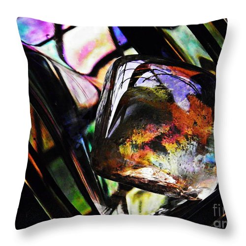 Abstract Throw Pillow featuring the photograph Glass Abstract 314 by Sarah Loft