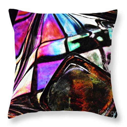 Abstract Throw Pillow featuring the photograph Glass Abstract 316 by Sarah Loft