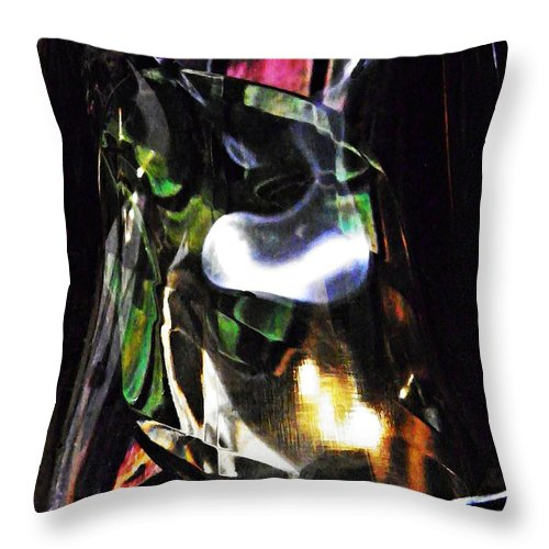 Abstract Throw Pillow featuring the photograph Glass Abstract 323 by Sarah Loft