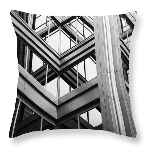 Architecture; Building; Facade; Side; Windows; Glass; Steel; Girders; Highrise; Skyscraper; City; Urban; Tall; High; Office; Condo; Apartments; Corner Throw Pillow featuring the photograph Glass And Steel by Margie Hurwich