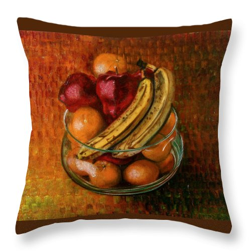 Still Life Throw Pillow featuring the painting Glass Bowl Of Fruit by Sean Connolly
