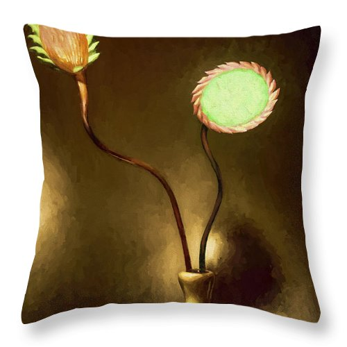 Fine Art Throw Pillow featuring the painting Glass Flowers by David Wagner