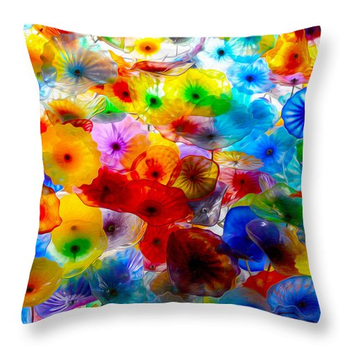Glass Flower Garden Throw Pillow featuring the photograph Glass Flowers by Tracy Winter
