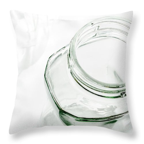 Abstract Throw Pillow featuring the photograph Glass Jars - High Key by Alain De Maximy