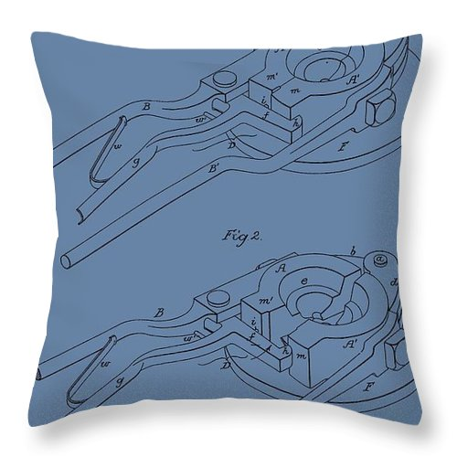 Glass Mold Patent Throw Pillow featuring the digital art Glass Mold Patent On Blue by Dan Sproul