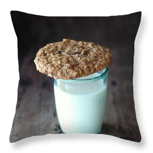 Milk Throw Pillow featuring the photograph Glass Of Milk by Shawna Lemay