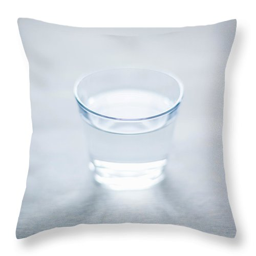 White Background Throw Pillow featuring the photograph Glass Of Water by Steven Errico