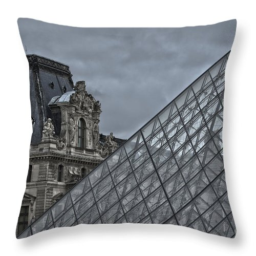 Louvre Throw Pillow featuring the photograph Glass Pyramid And Louvre Museum Paris by Philip Pound